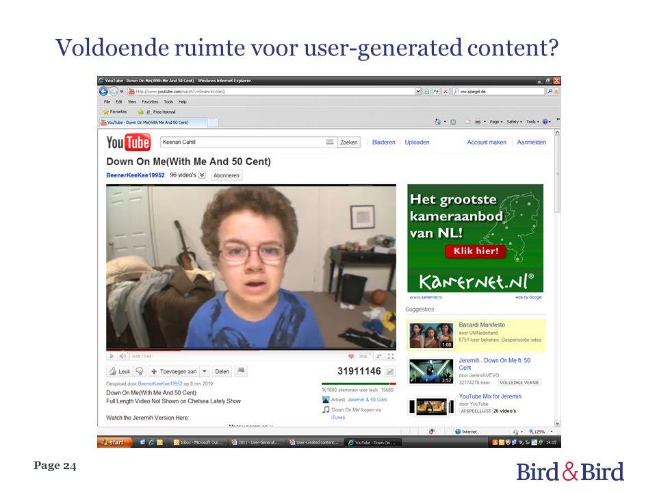 Page 24 Voldoende ruimte voor user-generated content?