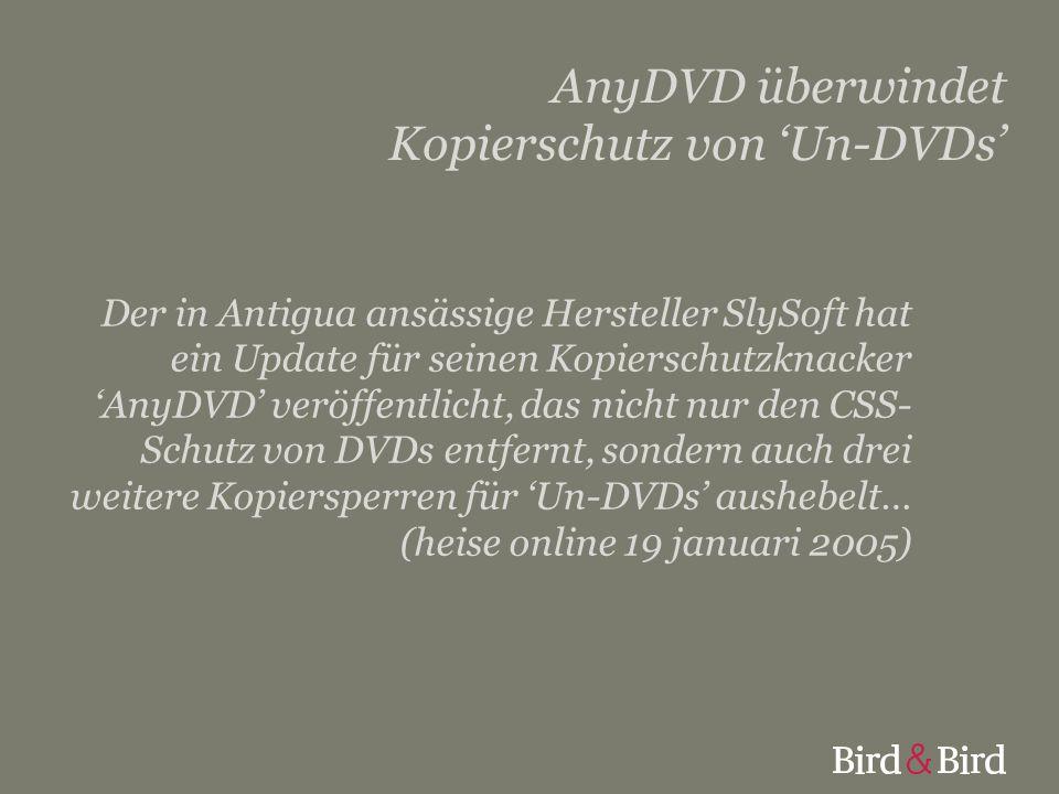 AnyDVD überwindet Kopierschutz von 'Un-DVDs' Der in Antigua ansässige Hersteller SlySoft hat ein Update für seinen Kopierschutzknacker 'AnyDVD' veröff