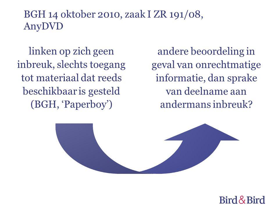 linken op zich geen inbreuk, slechts toegang tot materiaal dat reeds beschikbaar is gesteld (BGH, 'Paperboy') andere beoordeling in geval van onrechtm