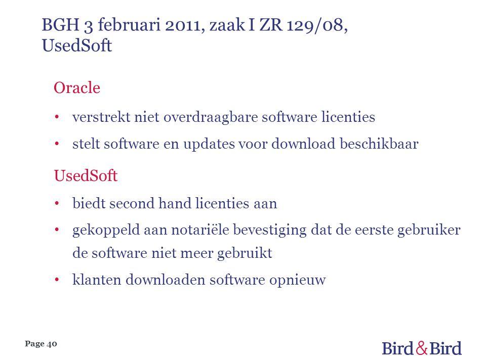Page 40 BGH 3 februari 2011, zaak I ZR 129/08, UsedSoft Oracle verstrekt niet overdraagbare software licenties stelt software en updates voor download