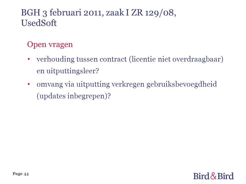 Page 44 BGH 3 februari 2011, zaak I ZR 129/08, UsedSoft Open vragen verhouding tussen contract (licentie niet overdraagbaar) en uitputtingsleer? omvan