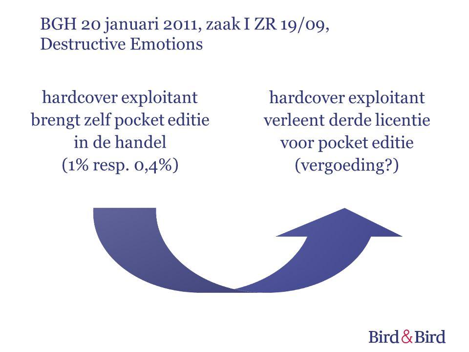 hardcover exploitant brengt zelf pocket editie in de handel (1% resp. 0,4%) hardcover exploitant verleent derde licentie voor pocket editie (vergoedin
