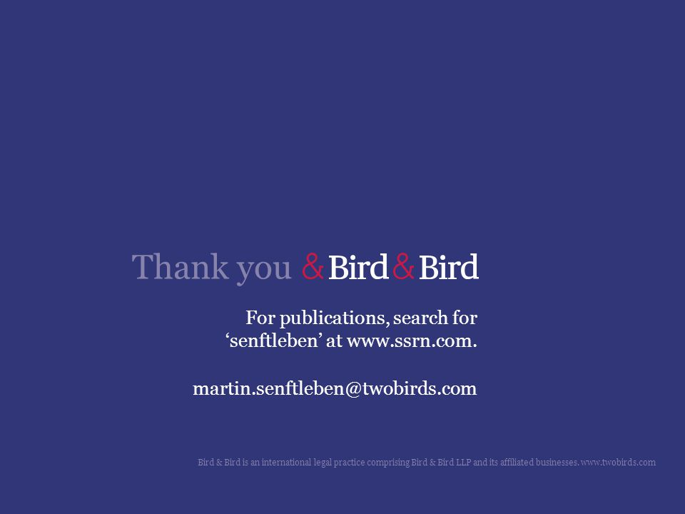Thank you For publications, search for 'senftleben' at www.ssrn.com.