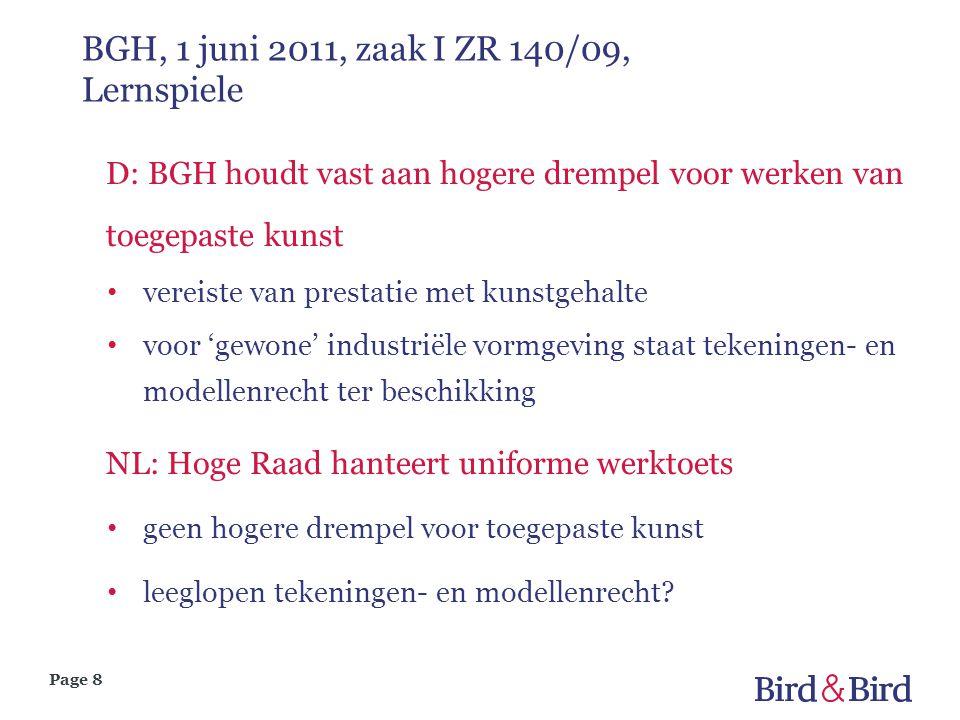 Page 8 BGH, 1 juni 2011, zaak I ZR 140/09, Lernspiele D: BGH houdt vast aan hogere drempel voor werken van toegepaste kunst vereiste van prestatie met