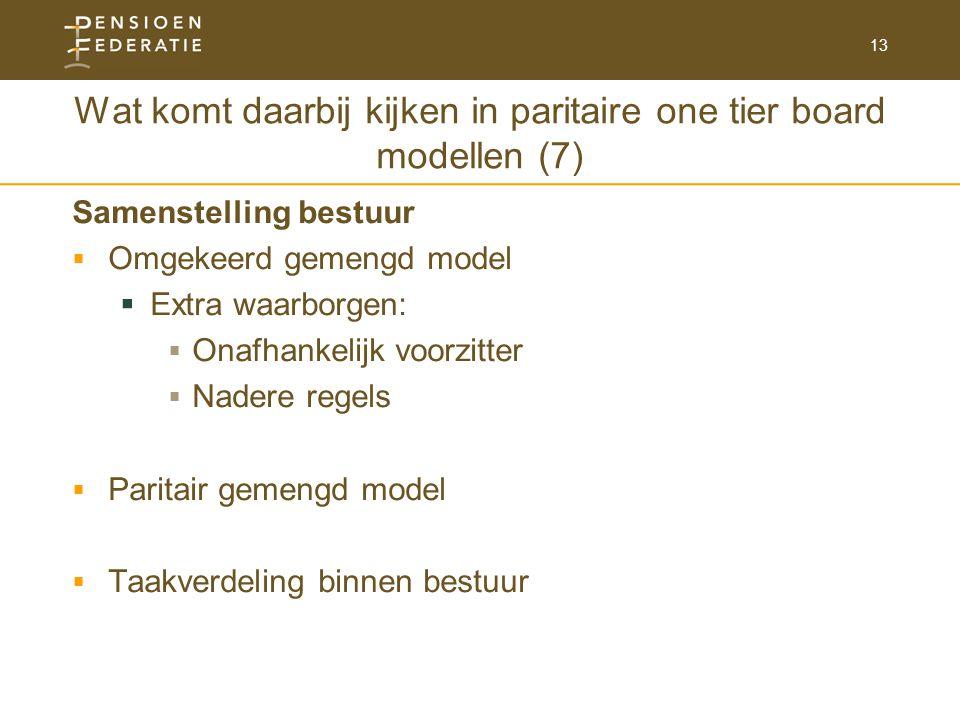 13 Wat komt daarbij kijken in paritaire one tier board modellen (7) Samenstelling bestuur  Omgekeerd gemengd model  Extra waarborgen:  Onafhankelijk voorzitter  Nadere regels  Paritair gemengd model  Taakverdeling binnen bestuur