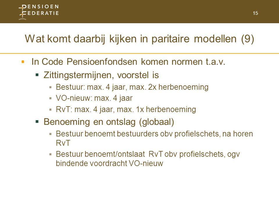 15 Wat komt daarbij kijken in paritaire modellen (9)  In Code Pensioenfondsen komen normen t.a.v.