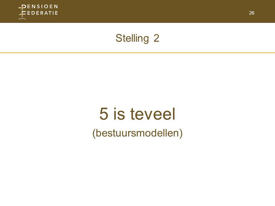 26 Stelling 2 5 is teveel (bestuursmodellen)