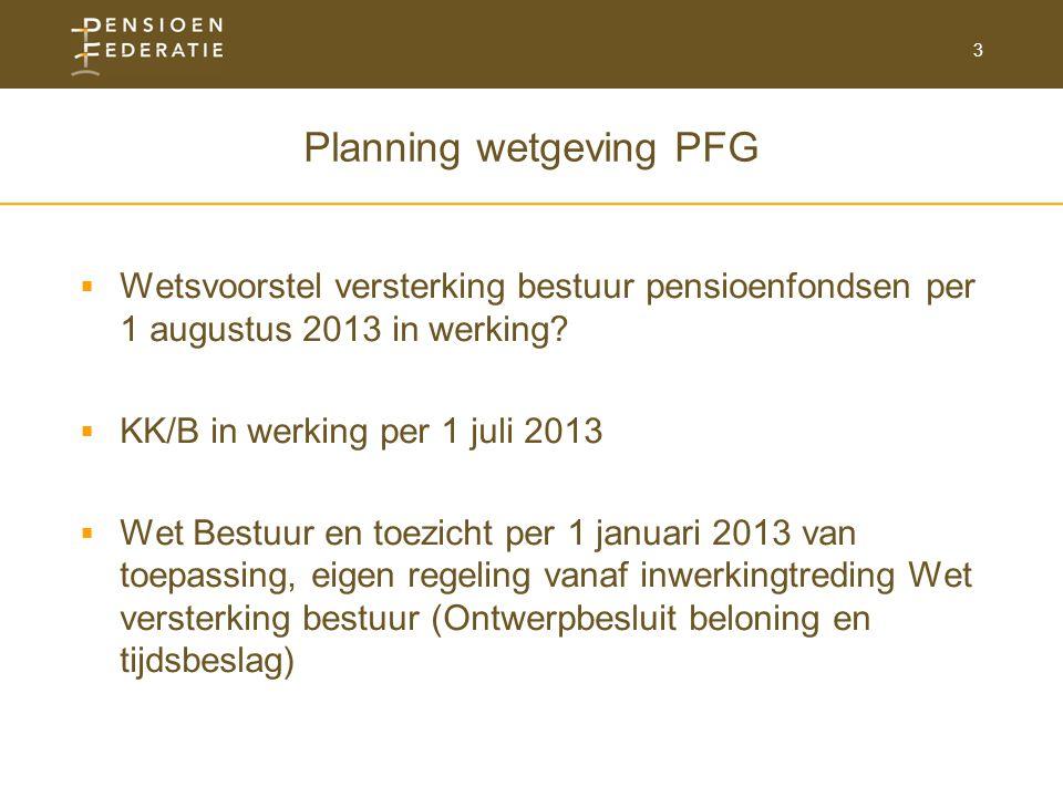 3 Planning wetgeving PFG  Wetsvoorstel versterking bestuur pensioenfondsen per 1 augustus 2013 in werking.