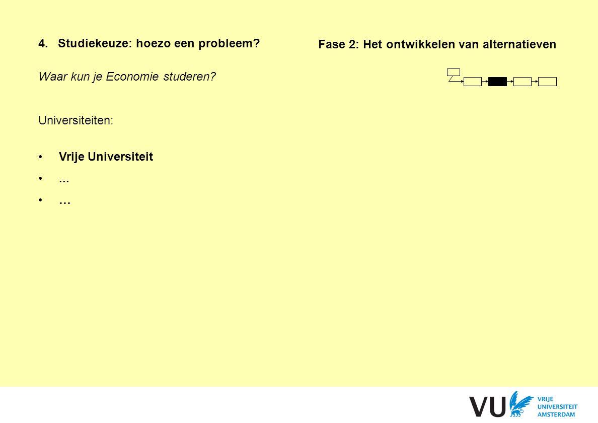 Waar kun je Economie studeren? Universiteiten: Vrije Universiteit... … 4.Studiekeuze: hoezo een probleem? Fase 2: Het ontwikkelen van alternatieven