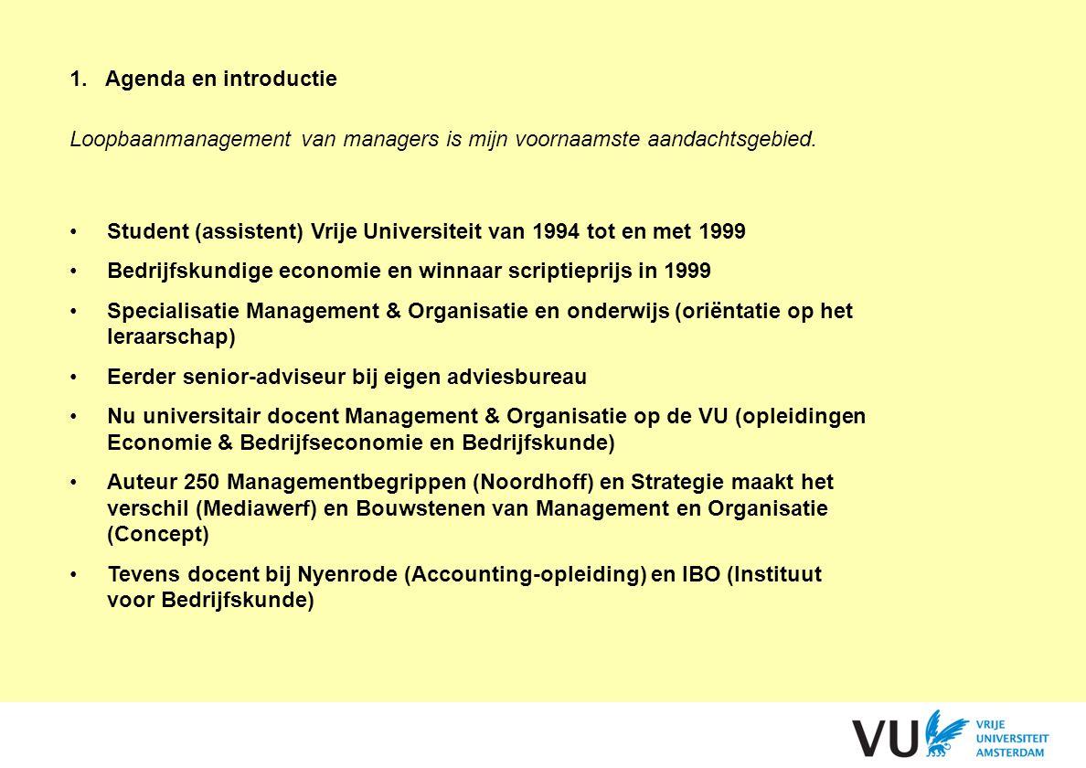 1.Agenda en introductie Loopbaanmanagement van managers is mijn voornaamste aandachtsgebied. Student (assistent) Vrije Universiteit van 1994 tot en me