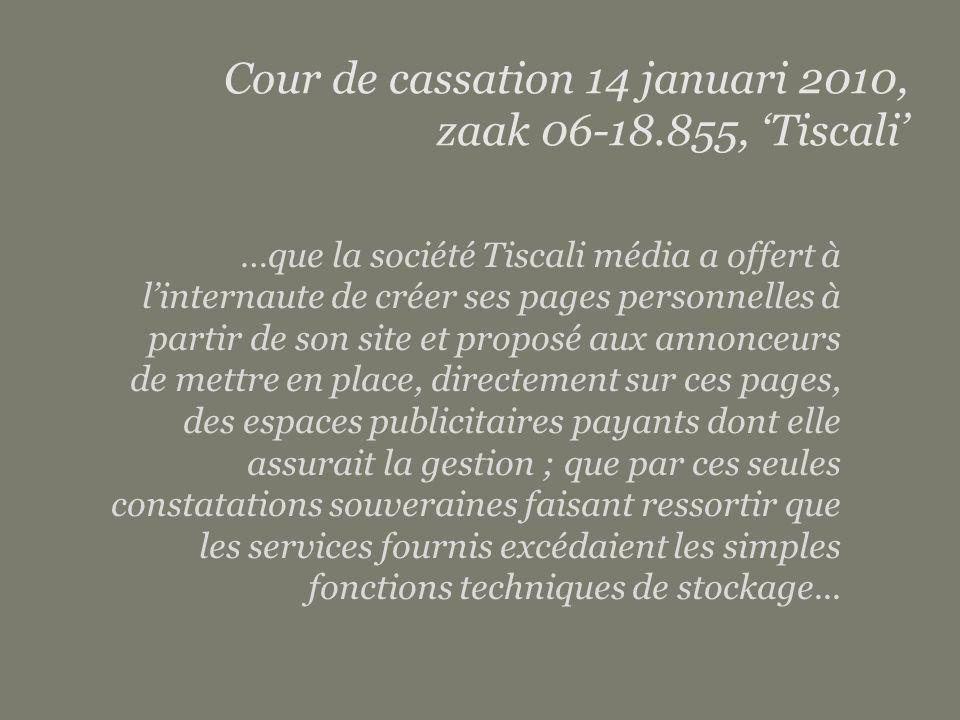 Subject matter | Client details page 15 …que la société Tiscali média a offert à l'internaute de créer ses pages personnelles à partir de son site et