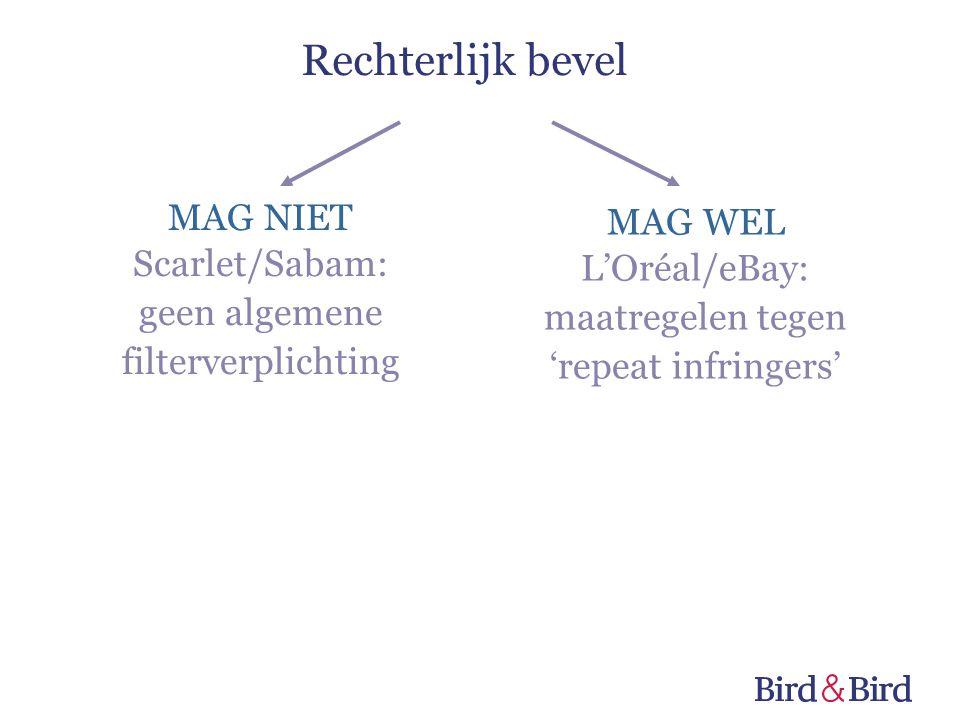 MAG NIET Scarlet/Sabam: geen algemene filterverplichting MAG WEL L'Oréal/eBay: maatregelen tegen 'repeat infringers' Rechterlijk bevel