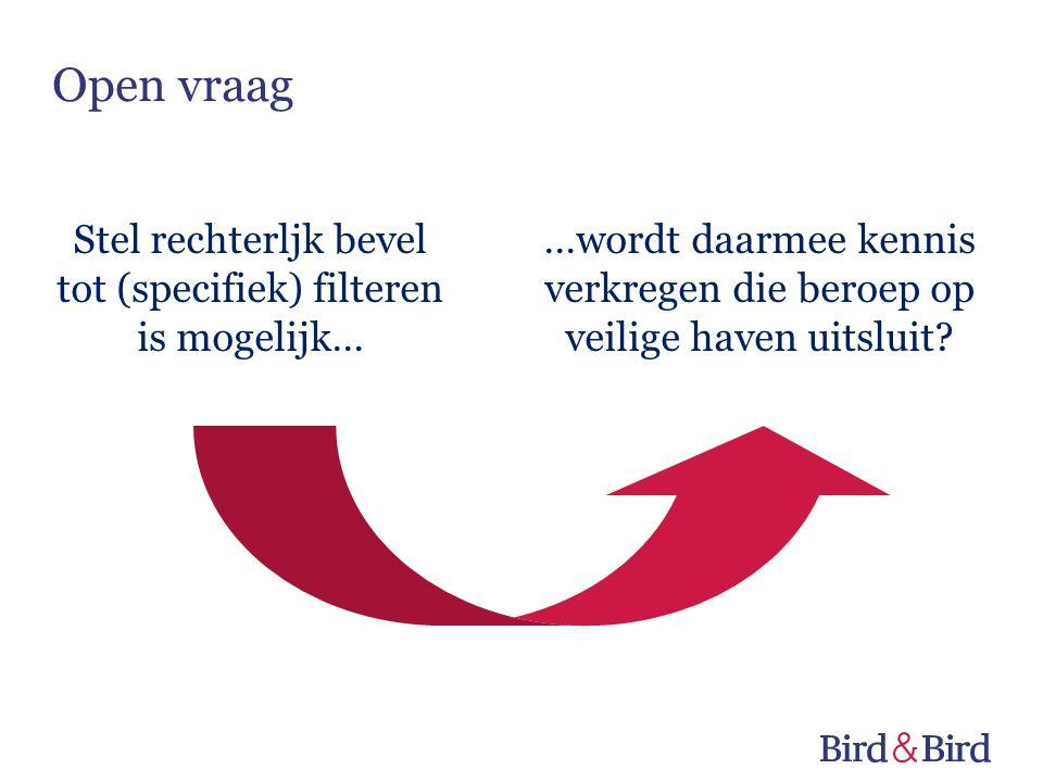 Stel rechterljk bevel tot (specifiek) filteren is mogelijk… …wordt daarmee kennis verkregen die beroep op veilige haven uitsluit? Open vraag
