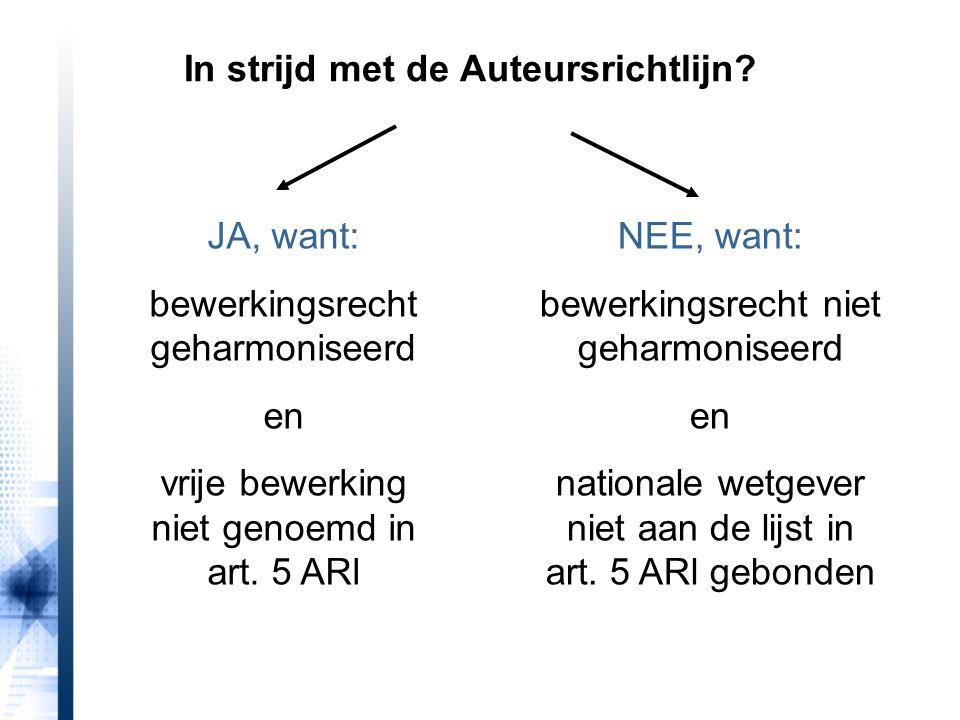 JA, want: bewerkingsrecht geharmoniseerd en vrije bewerking niet genoemd in art.