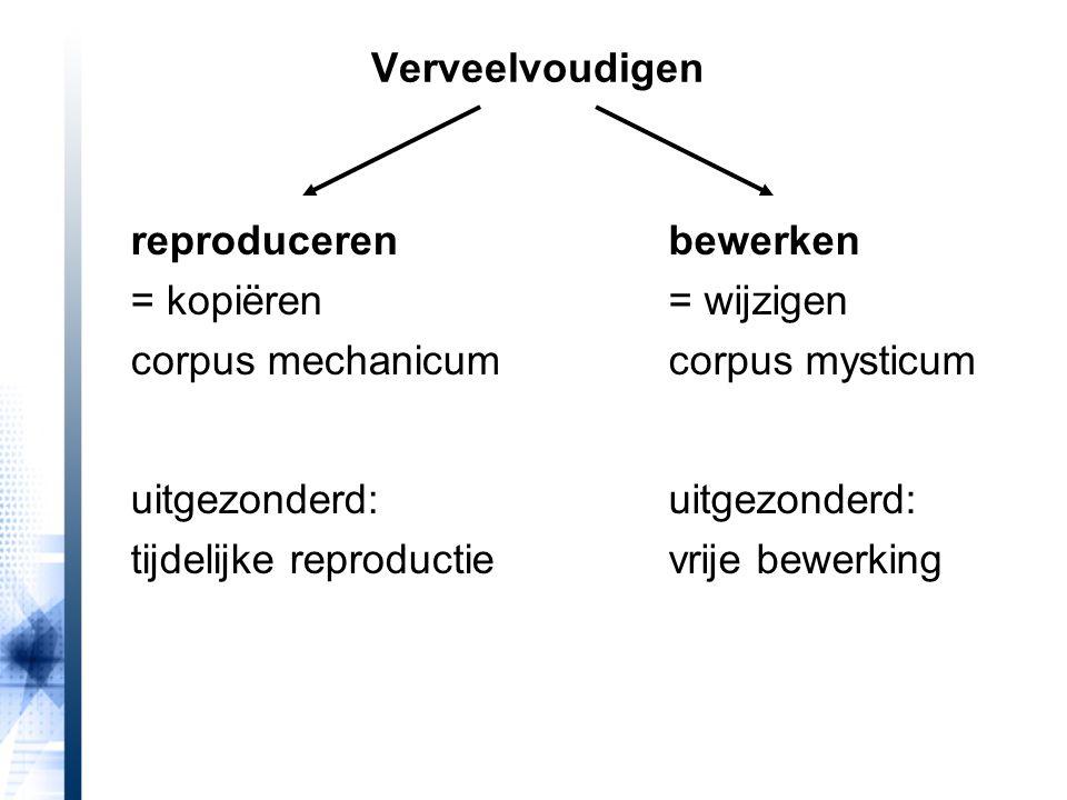 Verveelvoudigen reproduceren = kopiëren corpus mechanicum uitgezonderd: tijdelijke reproductie bewerken = wijzigen corpus mysticum uitgezonderd: vrije bewerking