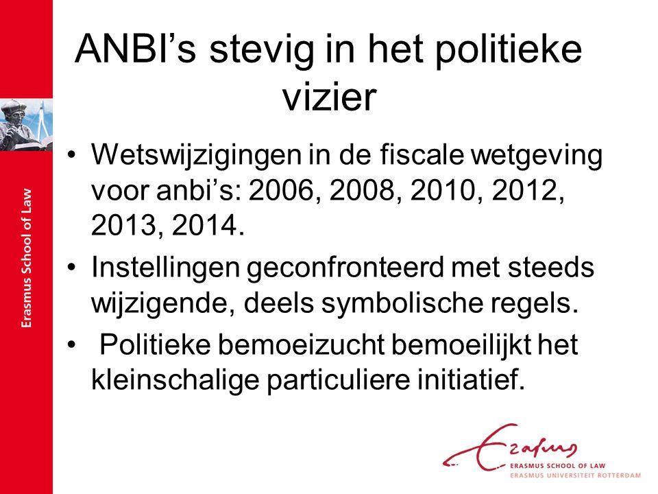 ANBI's stevig in het politieke vizier Wetswijzigingen in de fiscale wetgeving voor anbi's: 2006, 2008, 2010, 2012, 2013, 2014.