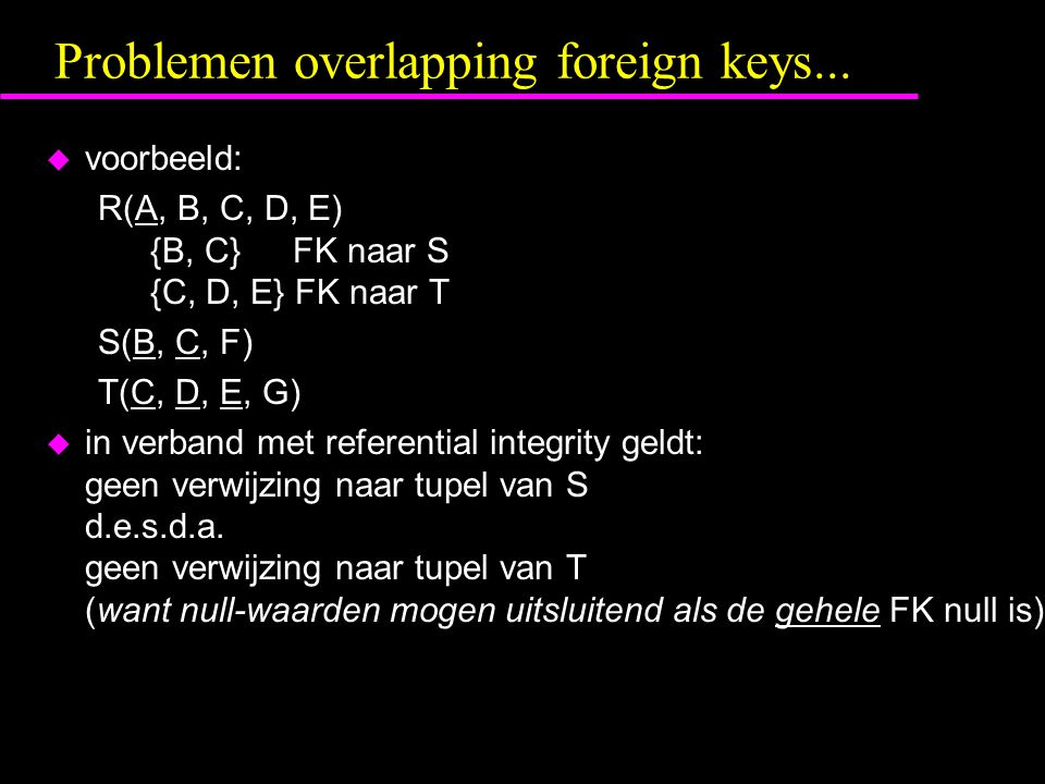 Problemen overlapping foreign keys...