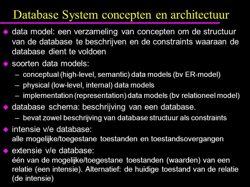 Database System concepten en architectuur u data model: een verzameling van concepten om de structuur van de database te beschrijven en de constraints