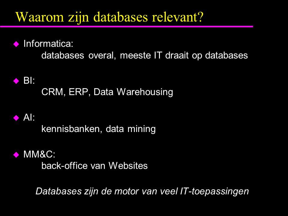 Definities u Database: Een verzameling van gerelateerde gegevens –heeft betrekking op Universe of Discourse (UoD) –is logisch coherent en heeft bepaalde betekenis –heeft een specifiek doel / doelgroep u Database Management System (DBMS): verzameling programmatuur voor het aanmaken en beheren van een database u Database System: DBMS software samen met gegevens zelf u Informatie systeem: Database System + applicaties + gebruikersomgeving (gebruikers + procedures)