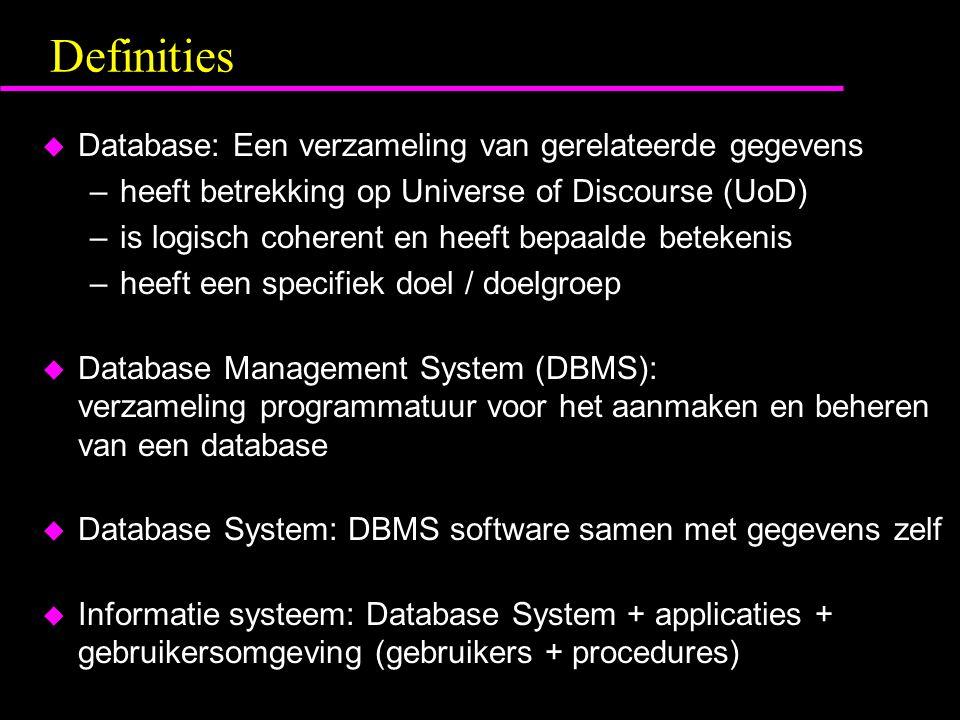 Definities u Database: Een verzameling van gerelateerde gegevens –heeft betrekking op Universe of Discourse (UoD) –is logisch coherent en heeft bepaal