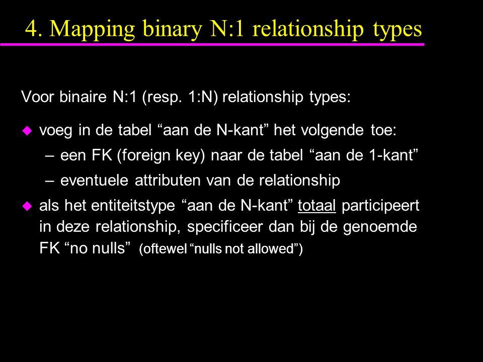 """4. Mapping binary N:1 relationship types Voor binaire N:1 (resp. 1:N) relationship types: u voeg in de tabel """"aan de N-kant"""" het volgende toe: –een FK"""
