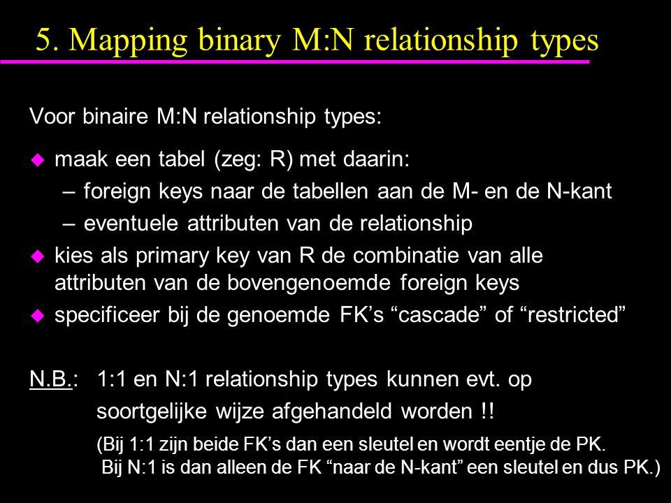 5. Mapping binary M:N relationship types Voor binaire M:N relationship types: u maak een tabel (zeg: R) met daarin: –foreign keys naar de tabellen aan