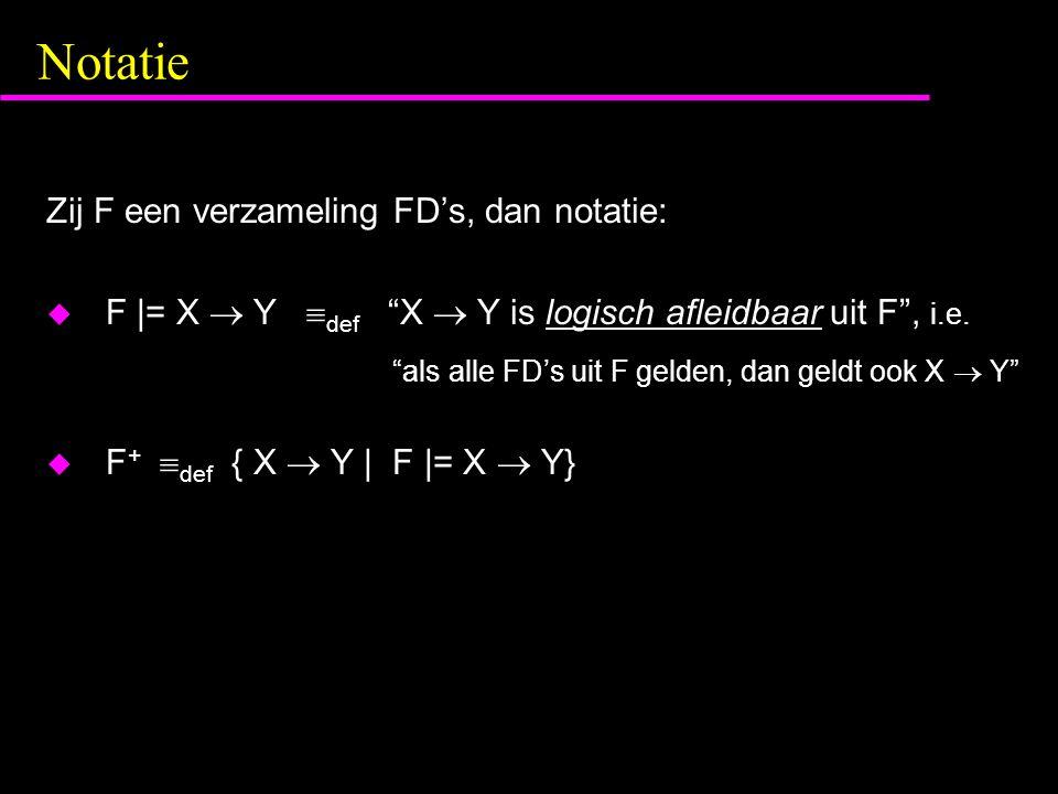 Notatie Zij F een verzameling FD's, dan notatie:  F |= X  Y  def X  Y is logisch afleidbaar uit F , i.e.