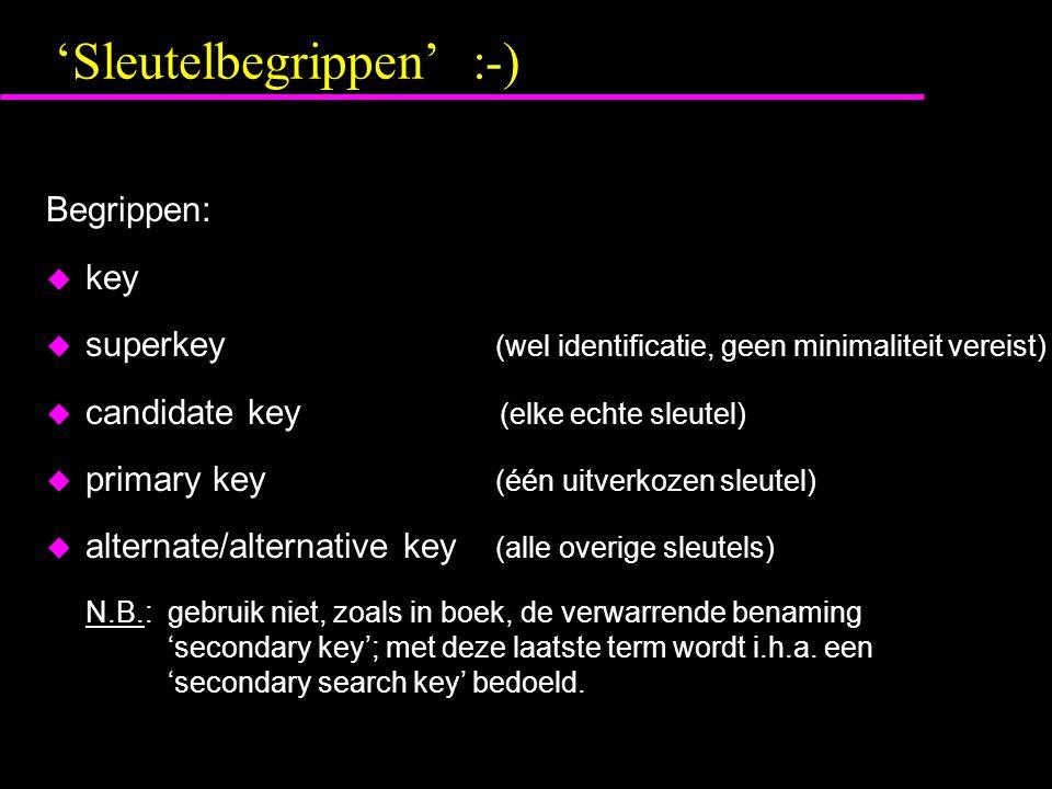 'Sleutelbegrippen' :-) Begrippen:  key  superkey (wel identificatie, geen minimaliteit vereist)  candidate key (elke echte sleutel)  primary key (één uitverkozen sleutel)  alternate/alternative key (alle overige sleutels) N.B.: gebruik niet, zoals in boek, de verwarrende benaming 'secondary key'; met deze laatste term wordt i.h.a.