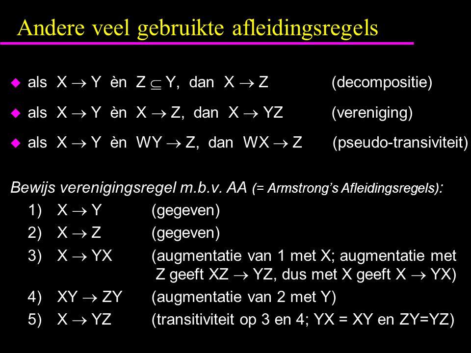 Andere veel gebruikte afleidingsregels  als X  Y èn Z  Y, dan X  Z (decompositie)  als X  Y èn X  Z, dan X  YZ (vereniging)  als X  Y èn WY  Z, dan WX  Z (pseudo-transiviteit) Bewijs verenigingsregel m.b.v.