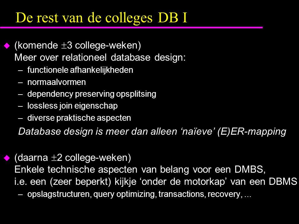 De rest van de colleges DB I  (komende  3 college-weken) Meer over relationeel database design: –functionele afhankelijkheden –normaalvormen –dependency preserving opsplitsing –lossless join eigenschap –diverse praktische aspecten Database design is meer dan alleen 'naïeve' (E)ER-mapping  (daarna  2 college-weken) Enkele technische aspecten van belang voor een DMBS, i.e.