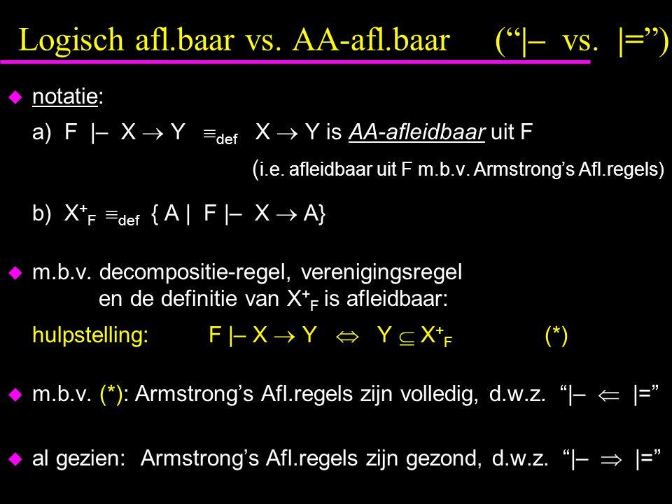 Logisch afl.baar vs.AA-afl.baar ( |– vs.