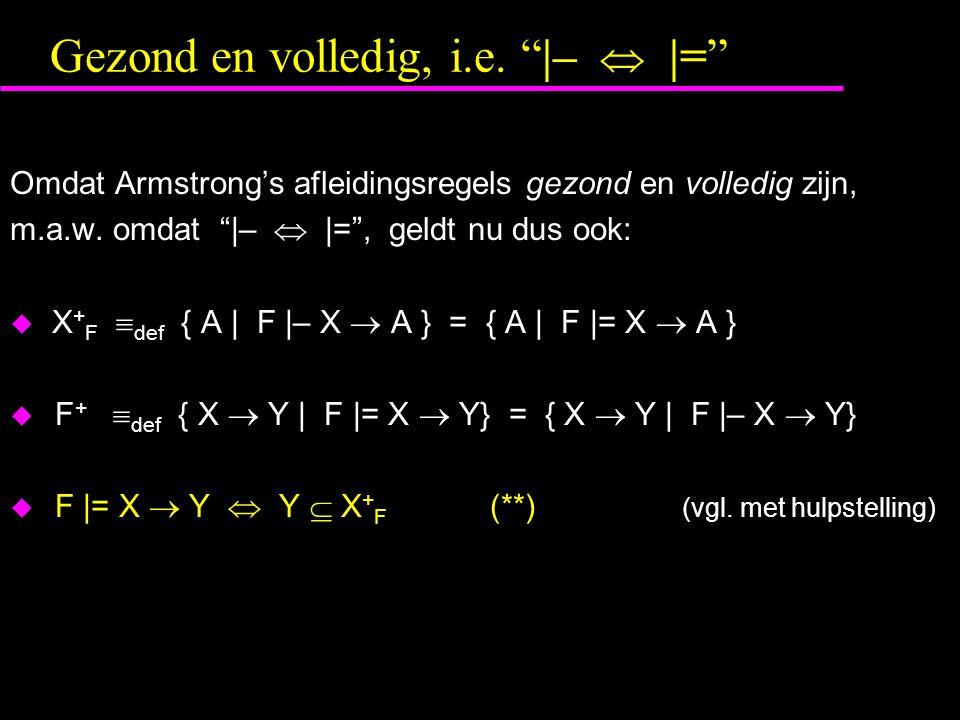 "Gezond en volledig, i.e. ""|–  |="" Omdat Armstrong's afleidingsregels gezond en volledig zijn, m.a.w. omdat ""|–  |="", geldt nu dus ook:  X + F  def"
