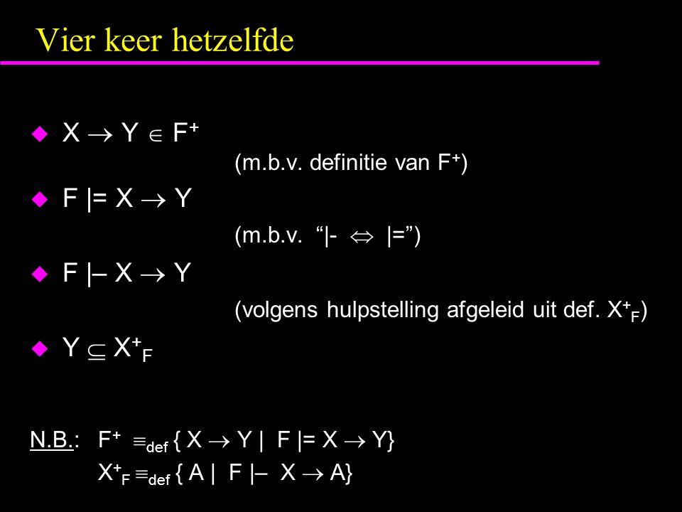 Vier keer hetzelfde  X  Y  F + (m.b.v.definitie van F + )  F |= X  Y (m.b.v.