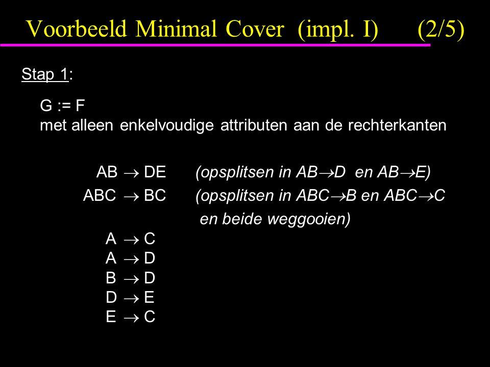 Voorbeeld Minimal Cover (impl. I)(2/5) Stap 1: G := F met alleen enkelvoudige attributen aan de rechterkanten AB  DE(opsplitsen in AB  D en AB  E)