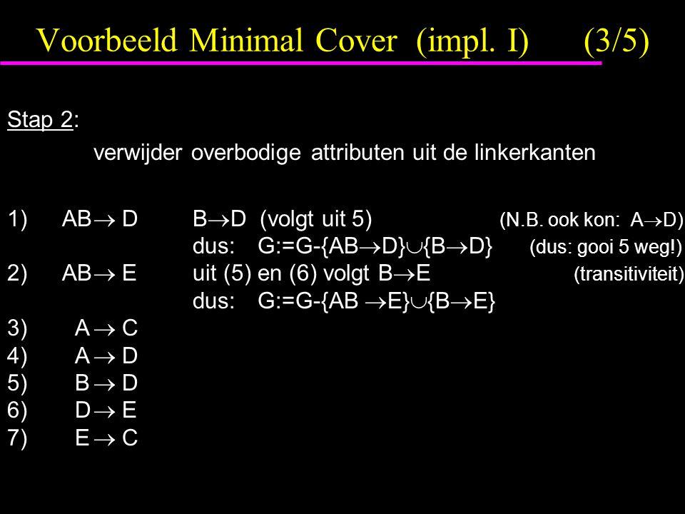 Voorbeeld Minimal Cover (impl. I)(3/5) Stap 2: verwijder overbodige attributen uit de linkerkanten 1) AB  DB  D (volgt uit 5) (N.B. ook kon: A  D)