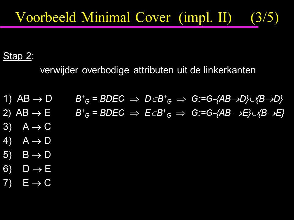 Voorbeeld Minimal Cover (impl. II)(3/5) Stap 2: verwijder overbodige attributen uit de linkerkanten 1) AB  D B + G = BDEC  D  B + G  G:=G-{AB  D}