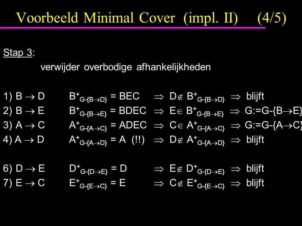 Voorbeeld Minimal Cover (impl. II)(4/5) Stap 3: verwijder overbodige afhankelijkheden 1)B  DB + G-{B  D} = BEC  D  B + G-{B  D}  blijft 2)B  EB