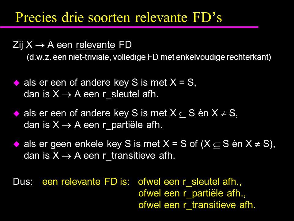 Precies drie soorten relevante FD's Zij X  A een relevante FD (d.w.z. een niet-triviale, volledige FD met enkelvoudige rechterkant)  als er een of a