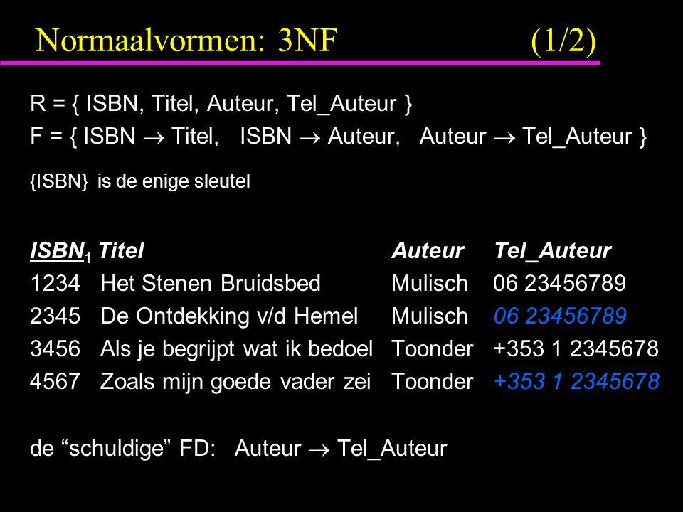 Normaalvormen: 3NF (1/2) R = { ISBN, Titel, Auteur, Tel_Auteur } F = { ISBN  Titel, ISBN  Auteur, Auteur  Tel_Auteur } {ISBN} is de enige sleutel ISBN 1 Titel AuteurTel_Auteur 1234 Het Stenen Bruidsbed Mulisch06 23456789 2345 De Ontdekking v/d Hemel Mulisch06 23456789 3456 Als je begrijpt wat ik bedoel Toonder+353 1 2345678 4567 Zoals mijn goede vader zei Toonder+353 1 2345678 de schuldige FD: Auteur  Tel_Auteur