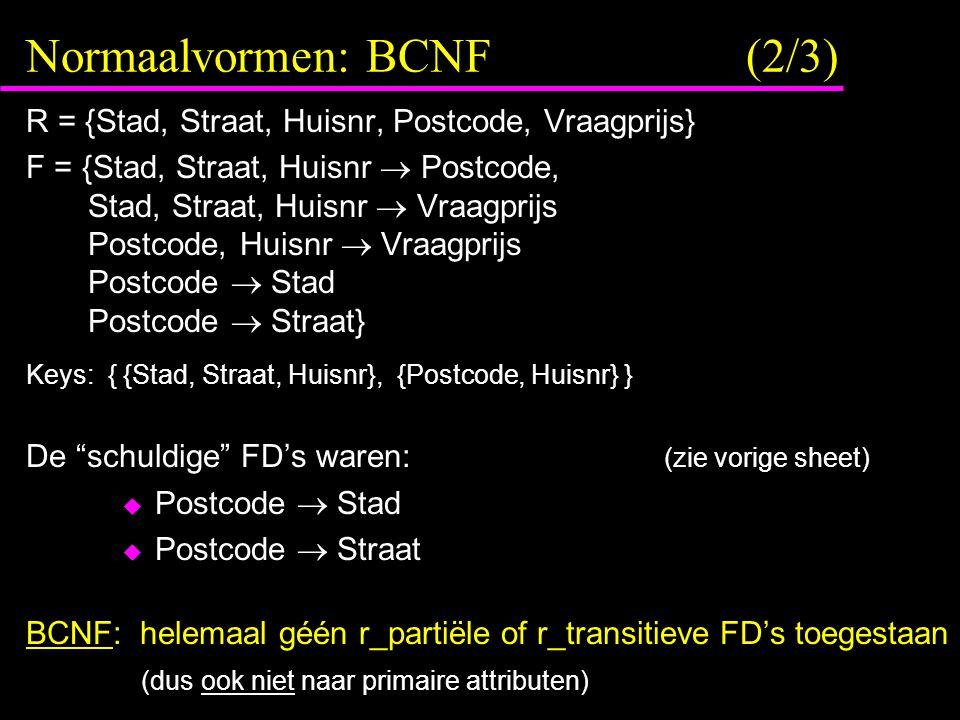 Normaalvormen: BCNF (2/3) R = {Stad, Straat, Huisnr, Postcode, Vraagprijs} F = {Stad, Straat, Huisnr  Postcode, Stad, Straat, Huisnr  Vraagprijs Pos