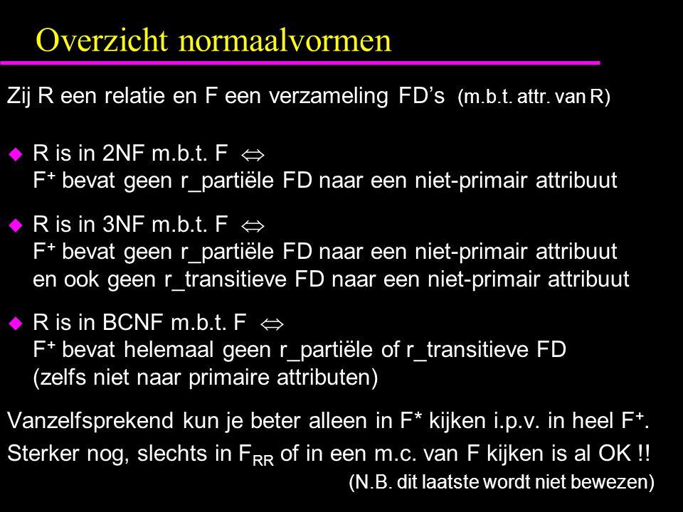 Overzicht normaalvormen Zij R een relatie en F een verzameling FD's (m.b.t. attr. van R)  R is in 2NF m.b.t. F  F + bevat geen r_partiële FD naar ee