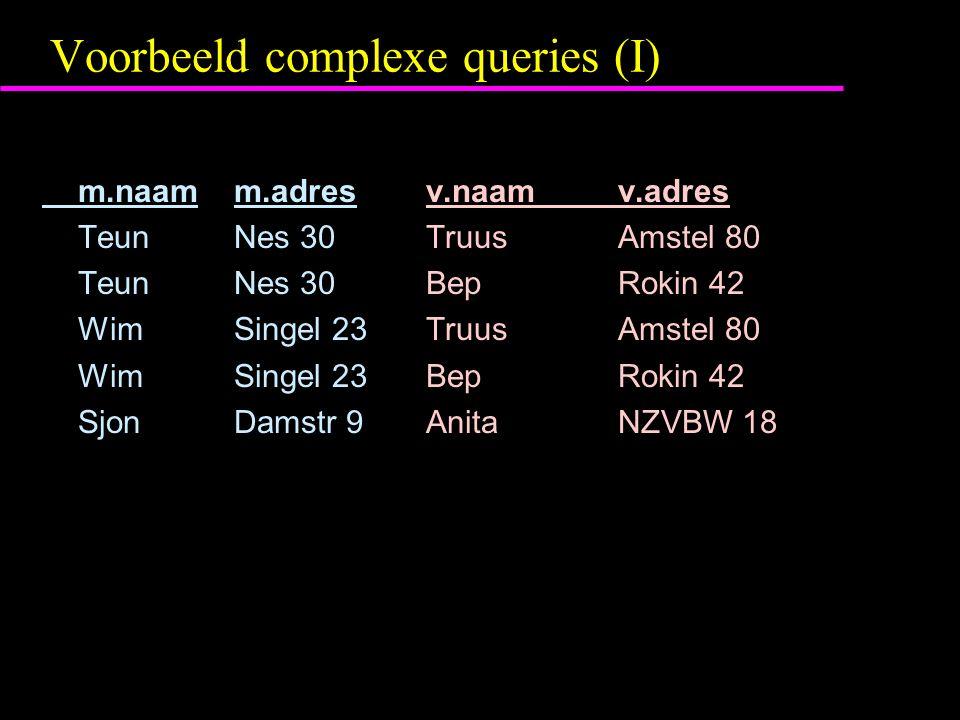 Voorbeeld complexe queries (I) m.naam m.adresv.naamv.adres TeunNes 30Truus Amstel 80 TeunNes 30Bep Rokin 42 WimSingel 23Truus Amstel 80 WimSingel 23Bep Rokin 42 SjonDamstr 9Anita NZVBW 18