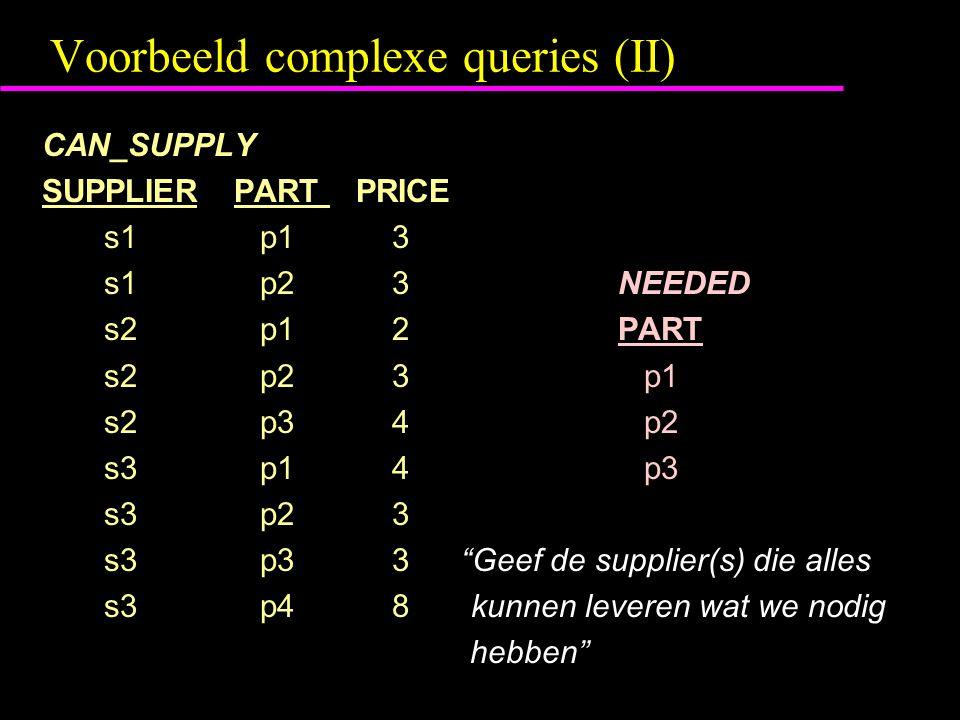 Voorbeeld complexe queries (II) CAN_SUPPLY SUPPLIERPART PRICE s1 p1 3 s1 p2 3NEEDED s2 p1 2PART s2 p2 3 p1 s2 p3 4 p2 s3 p1 4 p3 s3 p2 3 s3 p3 3 Geef de supplier(s) die alles s3 p4 8 kunnen leveren wat we nodig hebben