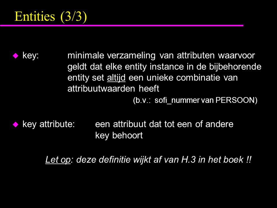 Entities (3/3) u key:minimale verzameling van attributen waarvoor geldt dat elke entity instance in de bijbehorende entity set altijd een unieke combinatie van attribuutwaarden heeft (b.v.: sofi_nummer van PERSOON) u key attribute:een attribuut dat tot een of andere key behoort Let op: deze definitie wijkt af van H.3 in het boek !!