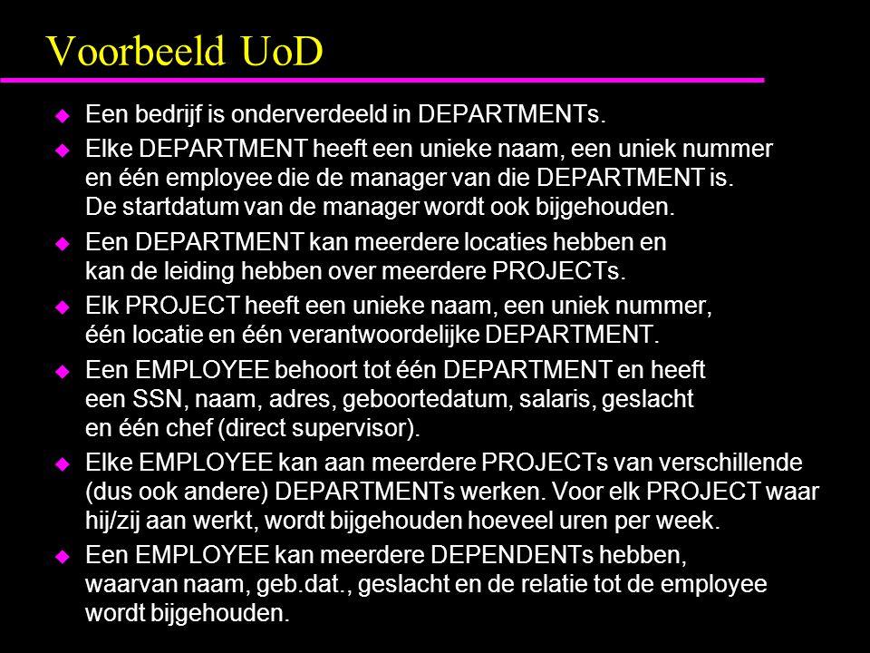 Voorbeeld UoD u Een bedrijf is onderverdeeld in DEPARTMENTs.