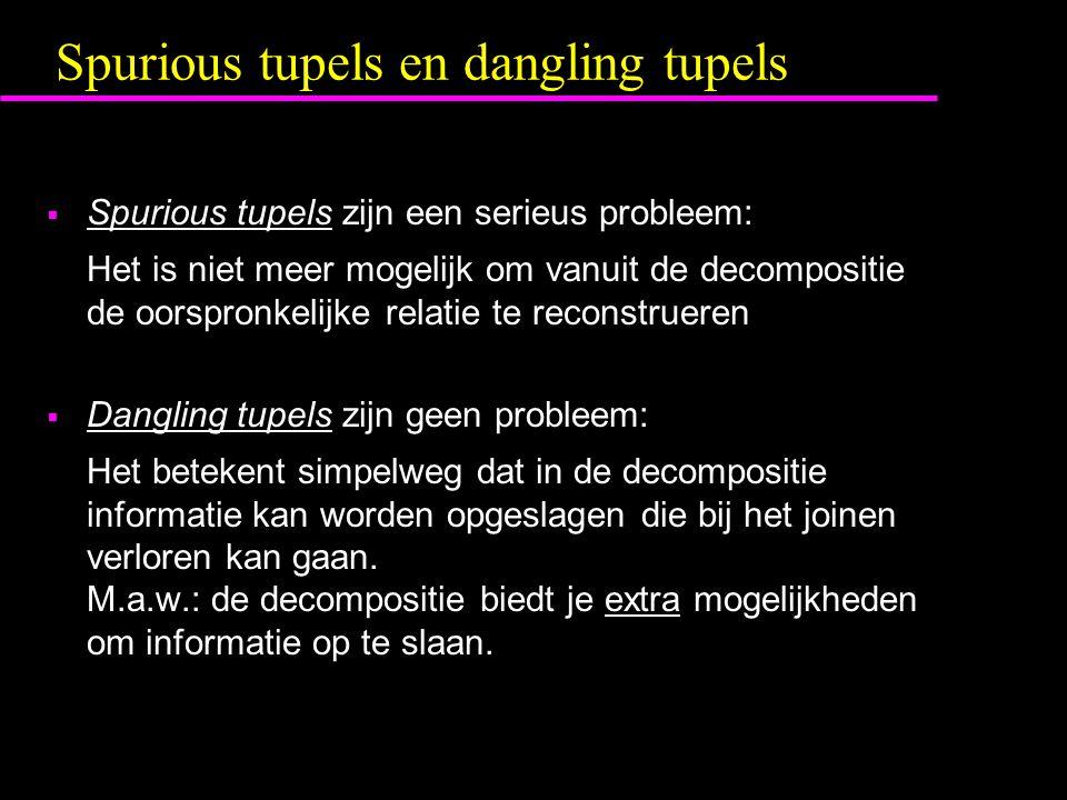 Spurious tupels en dangling tupels  Spurious tupels zijn een serieus probleem: Het is niet meer mogelijk om vanuit de decompositie de oorspronkelijke relatie te reconstrueren  Dangling tupels zijn geen probleem: Het betekent simpelweg dat in de decompositie informatie kan worden opgeslagen die bij het joinen verloren kan gaan.