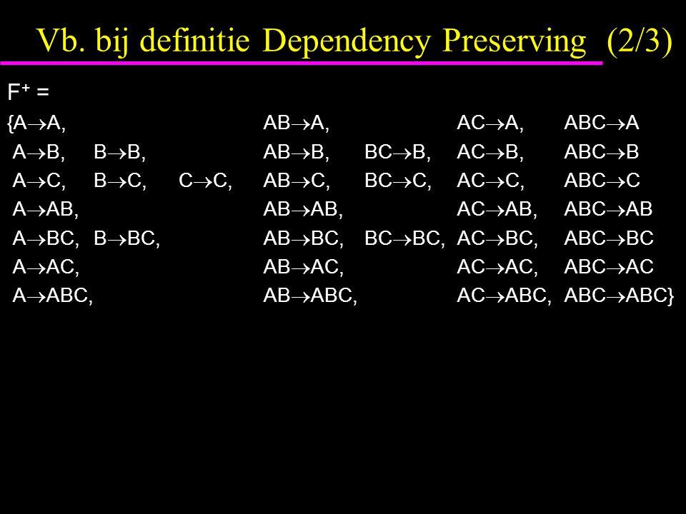 Vb. bij definitie Dependency Preserving (2/3) F + = {A  A, AB  A,AC  A,ABC  A A  B,B  B, AB  B,BC  B,AC  B,ABC  B A  C,B  C,C  C, AB  C,
