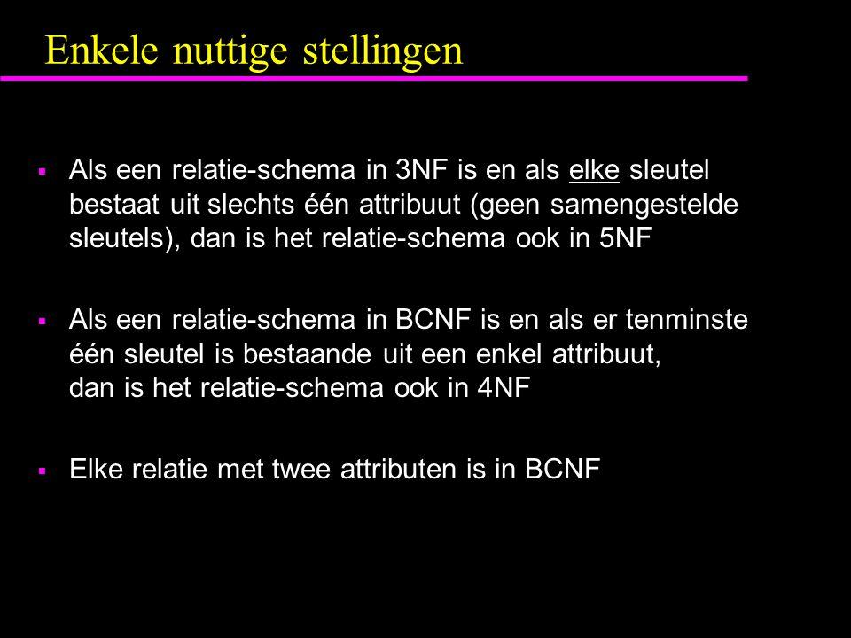 Enkele nuttige stellingen  Als een relatie-schema in 3NF is en als elke sleutel bestaat uit slechts één attribuut (geen samengestelde sleutels), dan is het relatie-schema ook in 5NF  Als een relatie-schema in BCNF is en als er tenminste één sleutel is bestaande uit een enkel attribuut, dan is het relatie-schema ook in 4NF  Elke relatie met twee attributen is in BCNF