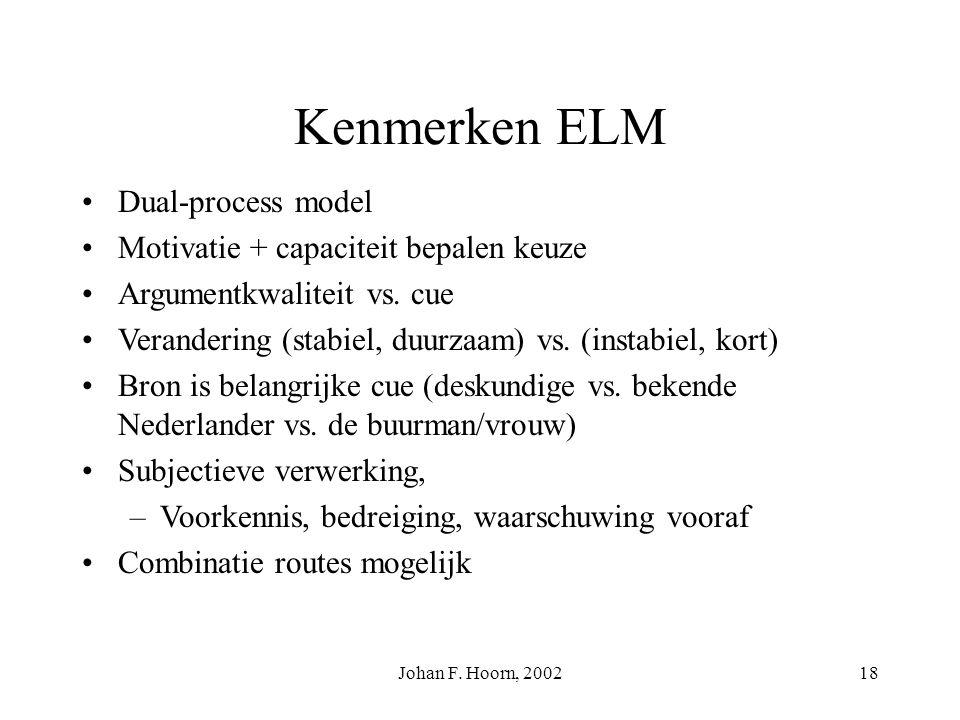 Johan F. Hoorn, 200217 persuasieve communicatie 1. motivatie tot verwerking? 2. bekwaamheid tot verwerking? 3. aard van de verwerking 4. verandering c