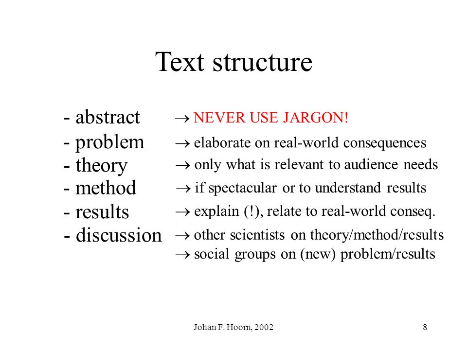 Johan F. Hoorn, 20027 Text structure - method - results - discussion - abstract - problem - theory In popular science, the structure is not fixed but